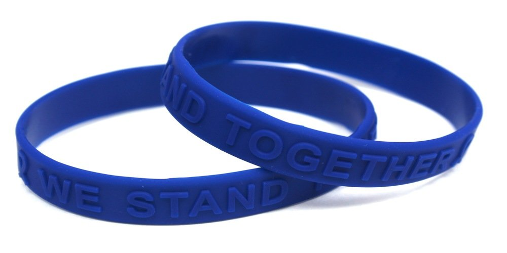 Blue Awareness (Raised Letter) Silicone Bracelet 100 Fundraiser Pack Free Upgrade to Priority Shipping