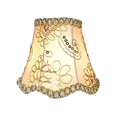 Eastlion Simple Modern Manual Fabric Lamp Shade for Crystal Candle Chandelier,Wall Lamp,Mini Table Lamp with Wave Brim Clip Lamp Shade 8x13x12cm