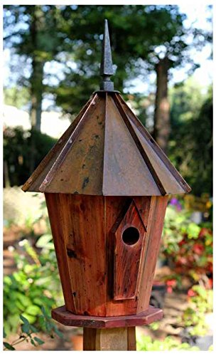 Innspire Bird House with Brown Patina Roof (Birdhouse Cypress Redwood)