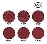 30 PCS 9-Inch NO-Hole PSA Aluminum Oxide Sanding Disc, Velcro Backed(5 Each of 80 100 120 180 240 400) #50-MSP9
