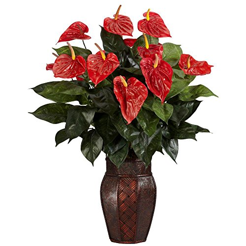 Nearly Natural 30.0 in. H Red Anthurium with Vase Silk Plant by Nearly Natural