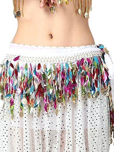 [Belly Dance Chiffon Wrap Belt 88 Gold Coins Leaves Hip Scarf Skirt Costume white] (Gypsy Clothing Costume)