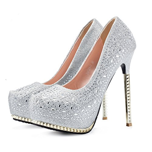 Women's Pumps wedding shoes sexy high heels platform rhinestone woman sandals (8.5) - Sexy Rhinestone Shoes