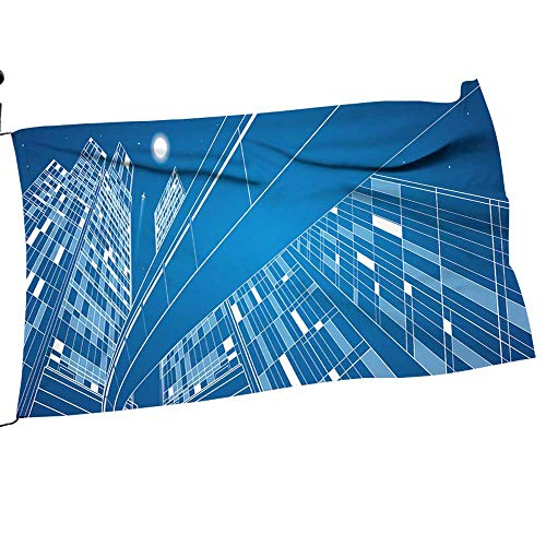 Youdeem-tablecloth Garden Flag Set Business Building,Overpass,Night City,Airplane Flying,Vector Design Panorama Gift for Children or Parents10 x 15