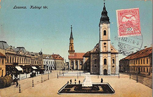 Losoncz Slovakia birds eye view business district town square antique pc Z42002 (Birdseye View Business)