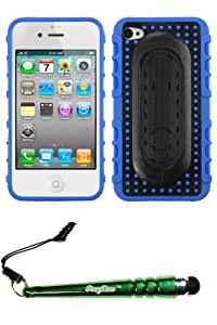 FoxyCase(TM) FREE stylus AND APPLE iPhone 4S 4 Blue Massage Dots Snap Tail Stand Protector Cover (with Package) cas couverture