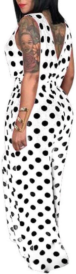 WSPLYSPJY Women Elegant Sleeveless Polka Dot Print One-Piece Loose Wide Leg Pants Jumpsuits