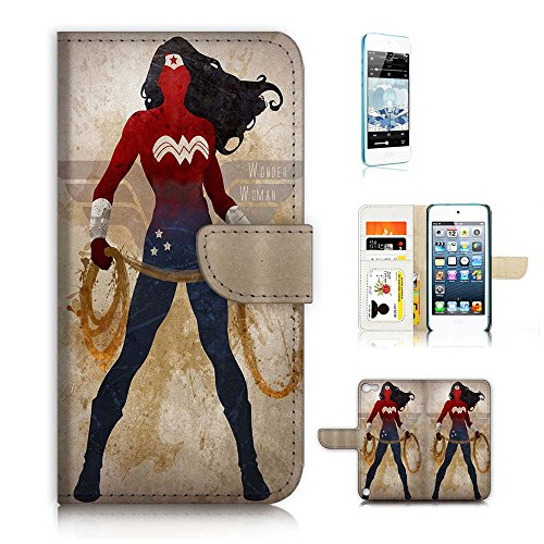 ( For iPod Touch 5 / iTouch 5 ) Flip Wallet Case Cover and Screen Protector Bundle A20308 Wonder Woman Super Hero