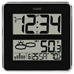 La Crosse Technology 512B-811 Large Atomic Digital Wall Clock with Forecast & Weather