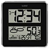 La Crosse Technology 512B-811 Large Atomic Digital Wall Clock with Forecast and Weather, Black