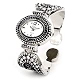 Silver Black Western Style Marcasite Crystal Women's Bangle Cuff Watch
