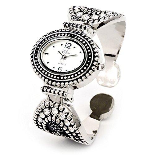 Silver Black Western Style Marcasite Crystal Women's Bangle Cuff (Ladies Silver Western Style Watch)