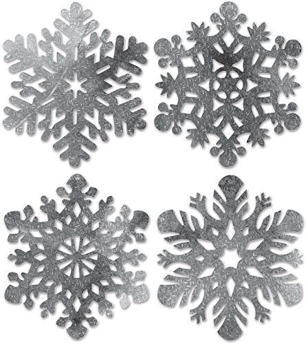 Block Buster Costumes Set of 4 Foil Holiday Snowflake Cutouts Party Decorations 13-16