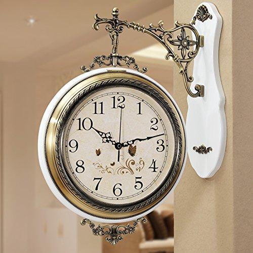 ウォールクロック アメリカの木製の金属の両面壁時計ミュートヨーロッパスタイルのリビングルーム2つの吊りテーブルクリエイティブウォールクオーツ時計ラージ(20インチ) (色 : D) B07D7SJW56D