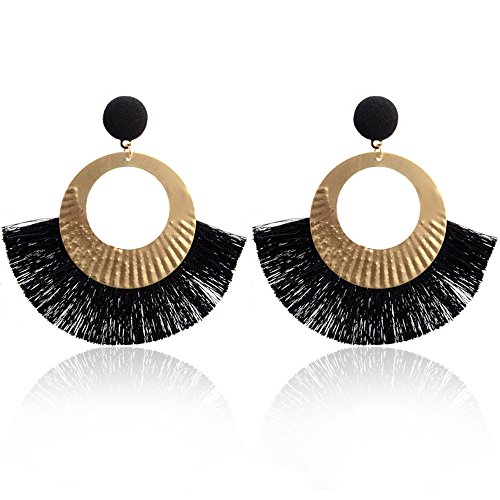 Booboda Comfortable and Gentle, Openwork Style Large Circle Crystal Tassel Pendant Stud Earrings Fashion Jewelry Round / Scallop Earrings (Black)