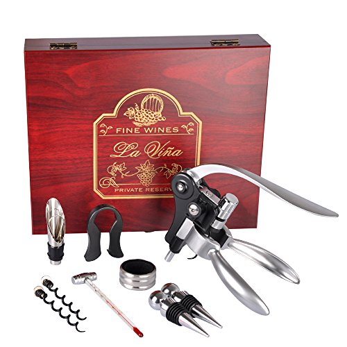Rabbit Wine Opener Set, 9 Pieces Wine Corkscrew Kit with Wine Stoppers and Pourer, Foil Cutter, Drip Ring & 2 Teflon Spirals In A Luxury Wooden Box, Best Wine Gift by Vina