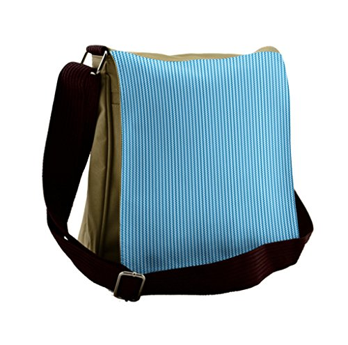Blue Striped Messenger Bag - Lunarable Blue Messenger Bag, Striped Pattern Zig Zag Lines, Unisex Cross-body