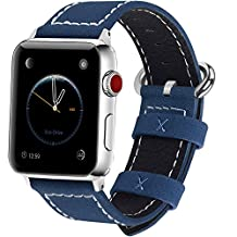9 Color Apple Watch Band, Fullmosa Mosa Texture Full-Grain Leather iWatch Replacement WristBand with Metal Clasp for iWatch Series1 Series2 Series3, 42mm Dark Blue
