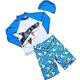 Baby Boys Kids 3-Pieces Shark Rashguard Swimsuit