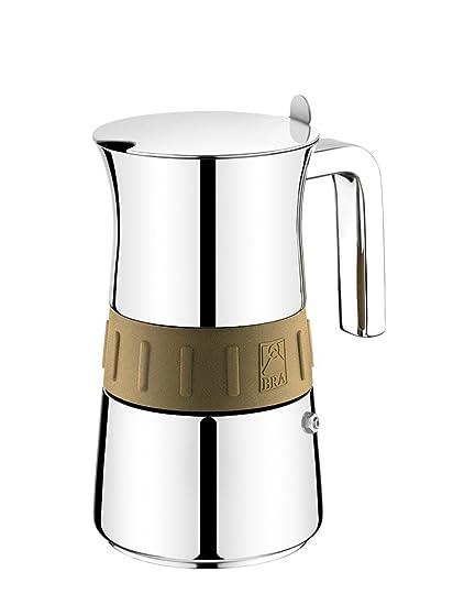 BRA Elegance Gold - Cafetera, Capacidad 10 Tazas, Acero Inoxidable 18/10