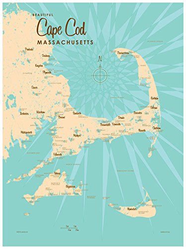 Cape Cod Massachusetts Vintage-Style Map Art Print Poster by Lakebound (18