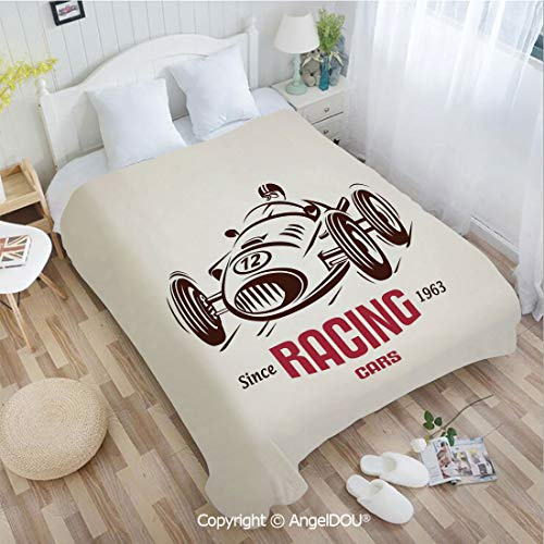 AngelDOU Warm air Conditioner Flannel Blanket W59 xL78 Retro Style Race Car Emblem Formula Automobile Icon Speed Competition for Bed Cover Sofa car use.