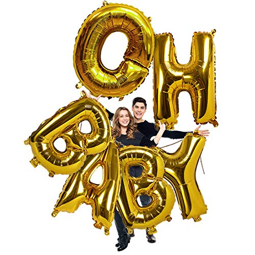 Treasures Gifted Gold Oh Baby Huge Letters Balloons 40 Inch Foil Mylar Banner for Gender Reveal Party Baby Shower Decorations ()