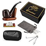 [Update Version]FeelGlad® Ebony Smoking Pipe with 10 Filter Element + Scraper + High Grade Pipe Pouches+10 pipe cleaners (style 1)