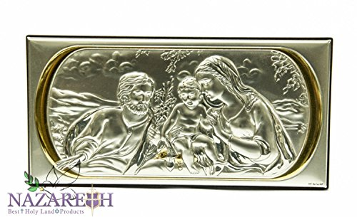 Beautiful Sterling Silver Holy Family Icon Wall Decor Handmade Jerusalem 8.7'' by Holy Land Gifts