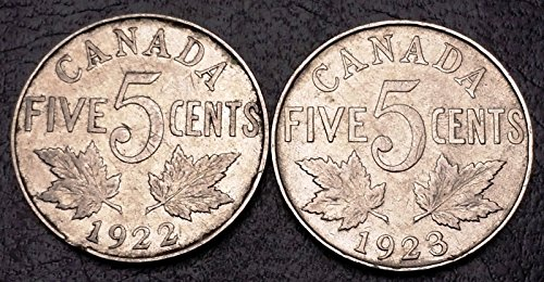 Unbranded 1922 & 1923 Canada 5 Cents Nickel Coins Great Condition
