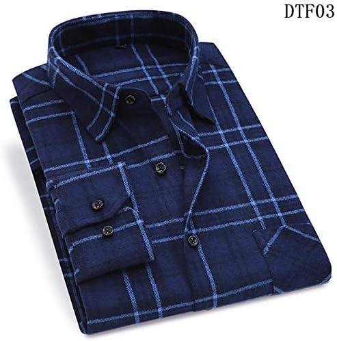 Camisa de Cuadros de Franela para Hombres algodón Primavera Otoño ...