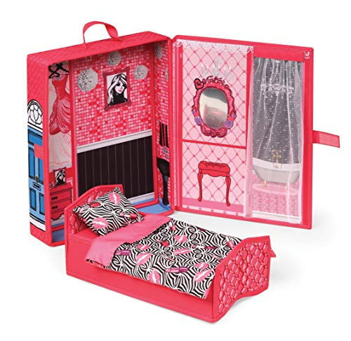Badger Basket Home and Go Dollhouse Playset Travel & Storage Case with Bed/Bedding for 12-inch Fashion Dolls