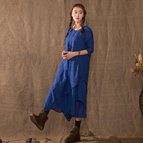 Manches Longues Des Femmes Aeneontrue Hiérarchisé Dressw Irrégulière Avec Bleu Broderie Florale