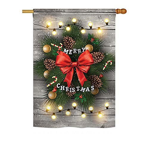 Ornament Collection - Lightful Merry Christmas Winter - Seasonal Impressions Decorative Vertical House Flag 28