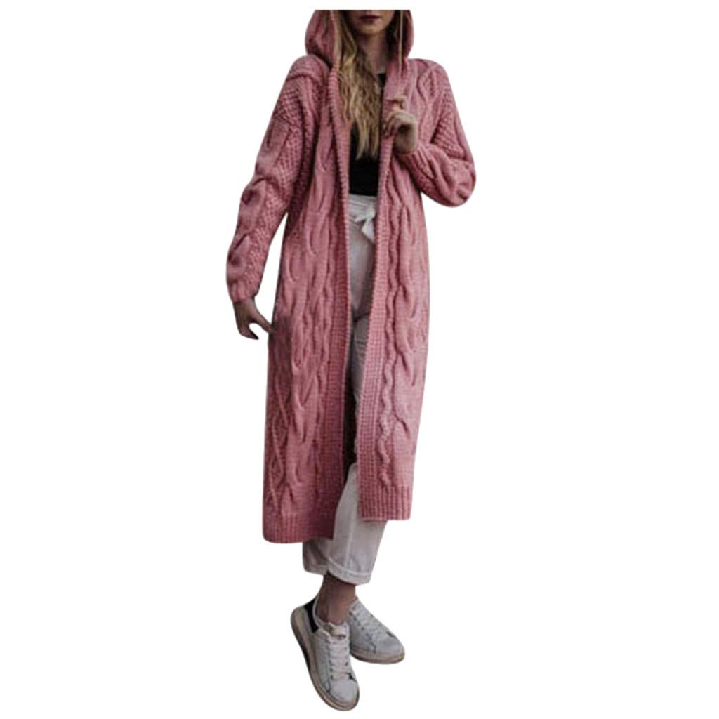 Willow S Women's Hooded Sweater Coat Autumn and Winter Casual Long-Sleeved Cardigan Soft and Comfortable Sweater Jacket Pink by Willow S
