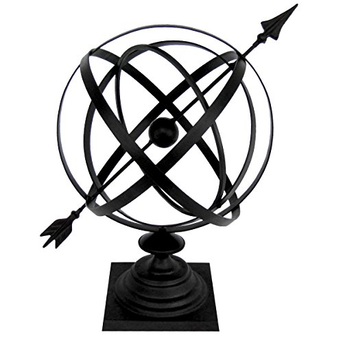 "Treasure Gurus Sundial Cast Iron 24"" Armillary Arrow Sphere Garden Decor"