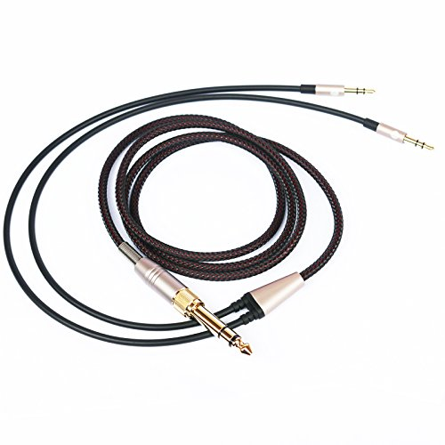 NEW NEOMUSICIA Replacement Cable Compatible with Hifiman HE4XX, HE-400i (The Latest Version with Both 3.5mm Plug) Headphones 3.5mm & 6.35mm to Dual 3.5mm Jack Male Cord 1.2m/4ft