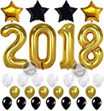 2018 BALLOONS NEW YEAR GRADUATION - Gold, 2018 Foil Mylar Number - Graduation Party Supplies - Graduation Decorations - Gold Black White Balloons for Events New Years Eve Party Supplies, Large 40 Inch