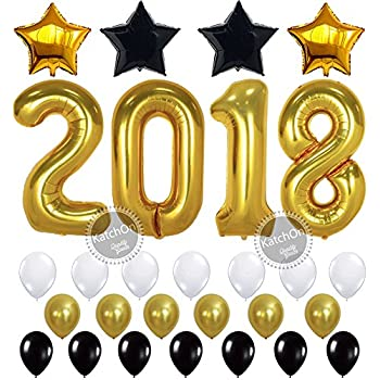2018 balloons new year graduation gold 2018 foil mylar number graduation party supplies