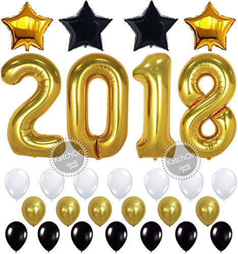 2018 BALLOONS NEW YEAR GRADUATION - Gold, 2018 Foil Mylar Number - Graduation Party Supplies - Graduation Decorations - Gold Black White Balloons for Events New Years Eve Party Supplies, (2017 New Years Eve Glasses)