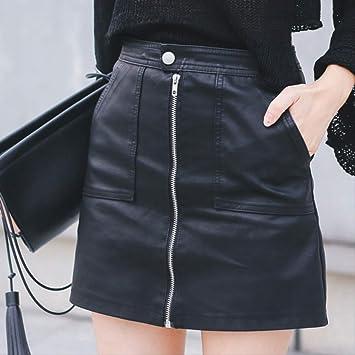 GDNTCJKY Faldas para Mujer Minifalda De Cuero Sintético Paquete A ...