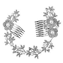 Tinksky Wedding Bridal Headpiece Hair Comb Pearl Crystal Flower Leaf Hair Clip Side Comb Pin