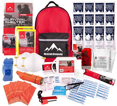 Rescue Guard; First Aid Kit, Hurricane Kit, Disaster Kit or Earthquake Kit; Emergency Survival Kit, Bug Out Bag Supplies, Survival Gear for 6 Day/ 72 Hours, 2 People (Basic Survival Pack) (Best Get Home Bag Backpack)
