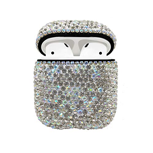 - Luxurious Rhinestone AirPods Case, Protective Bling Diamonds AirPod Charging Protective Case Cover for Apple I10/I12 TWS (Silver)
