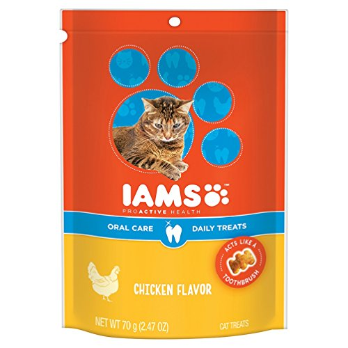 Iams PROACTIVE HEALTH Oral Care Daily Treats for Cats Chicken Flavor 2.47 Ounces (Pack of 10)