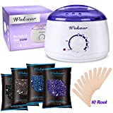 Rapid Melt Hair Removal Waxing Kit Electric Hot Wax Warmer with 4 different flavors Hard Wax Beans and Wax Applicator Sticks 3.5 oz A Bag Of Wax BeansuFF08Chamomile, Lavender,Nature,Chocolate)