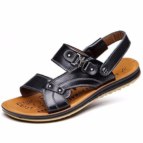 Estate i nuovi uomini tendine del fondo della spiaggia scarpe sandali pelle sandali sandali scarpa copertina piede primo strato cuoio genuino pelle, nero, US = 9,5, UK = 9, EU = 43 1/3, CN = 45