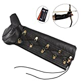 CyberDyer 2 in 1 Archery Arm Guard Bow Hand Shooting Glove Leather Protective Gear for Hunting Target Bow Shooting Training