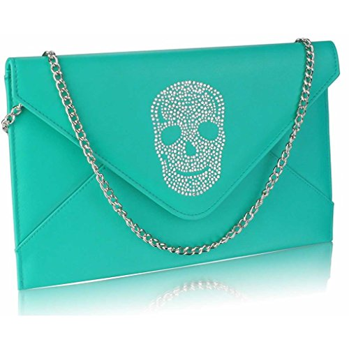 FLAP EMERALD Crystal Women's Handbag Bag Diamante CWE00228 SKULL Flap LeahWard Skull Clutch zPqHzw