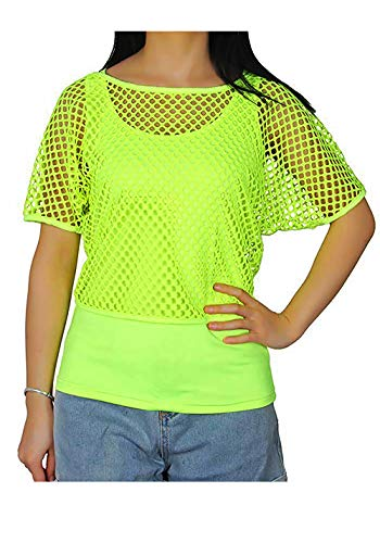 Smile fish Women Casual Oversized Sexy 80s Costumes Fishnet Neon Off Shoulder T-Shirt (2XL, Neon-Green) K025 -